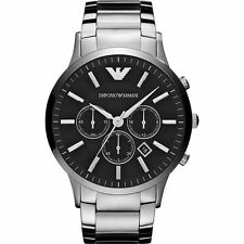 NEW EMPORIO ARMANI AR2460 MENS STEEL CHRONOGRAPH WATCH - 2 YEAR WARRANTY