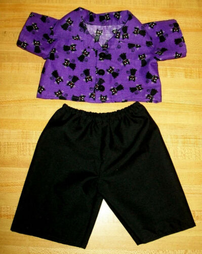 """BLACK+PURPLE HALLOWEEN WITCH/'S CAT SHIRT+PANTS for  16-18/"""" CPK Cabbage Patch Kid"""
