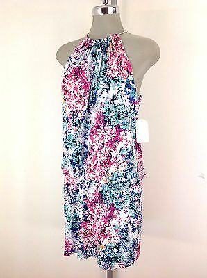 Jessica Simpson NWT Multi color Abstract print Dress Silver neck chain Size 2 10