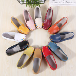 US-6-Ladies-Moccasins-Pumps-Flats-staycation-Loafers-Leather-Comfy-Boat-Shoes