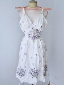 Vtg-70s-semi-sheer-white-cotton-hippie-sundress-purple-gingham-flowers-dress-S-M