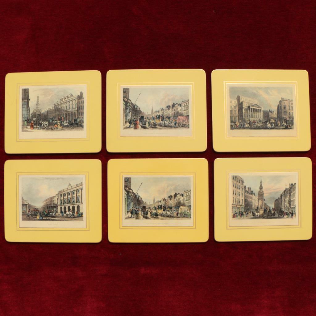 Vintage set 6 Angleterre 19TH Century Historical LONDON scènes TABLE NAPPERONS sous-verres