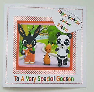 Large personalised 3rd birthday card bunny godson daughter grandson image is loading large personalised 3rd birthday card bunny godson daughter bookmarktalkfo Images