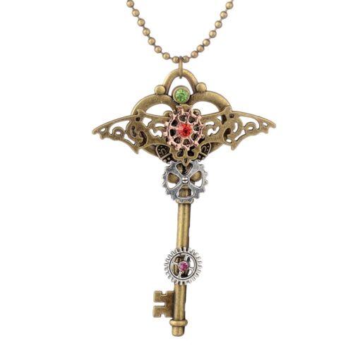 Key  Punk Vintage Machinery Antique Gear Necklace Jewelry Pendants Choker