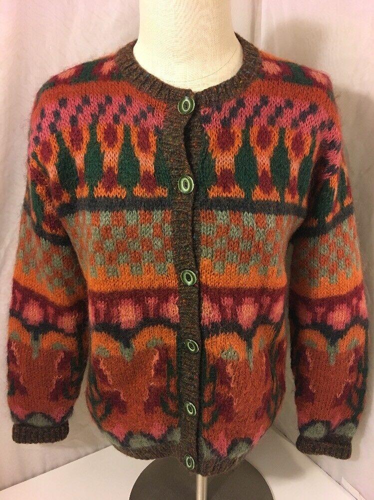 Susan Bristol Cardigan Sweater Size Small Hand Knit Mohair Wool Blend orange EUC
