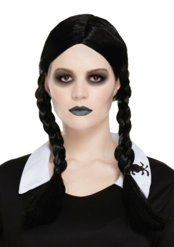 Ladies Black Pigtail Scary Addams Daughter Wednesday Wig Halloween Fancy Dress