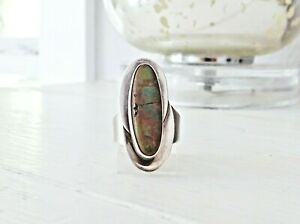Large-Sterling-Silver-925-Long-Turquoise-Modernist-Mid-Century-Size-7-Band-Ring