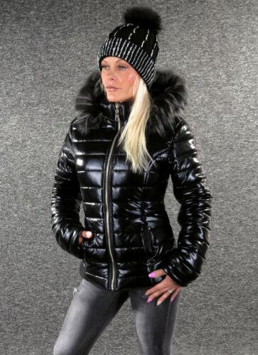 NEU Steppjacke BLACK METALLIC S M L XL XXL Schwarz Winterjacke Damen Jacke C149S