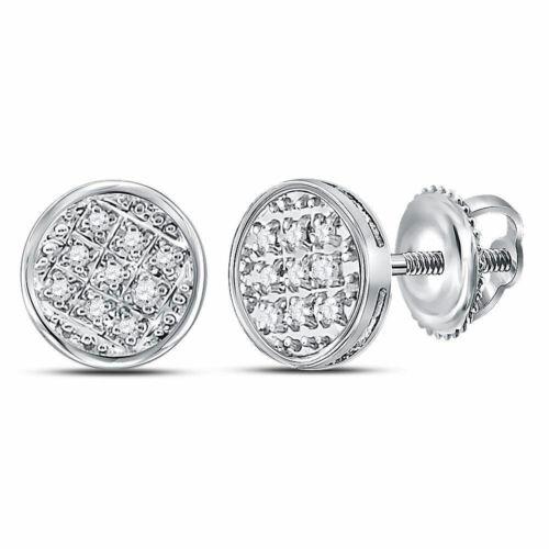10kt Weiß Gold Herren Rund Diamant Kreis Cluster Ohrstecker 1//20 Cttw