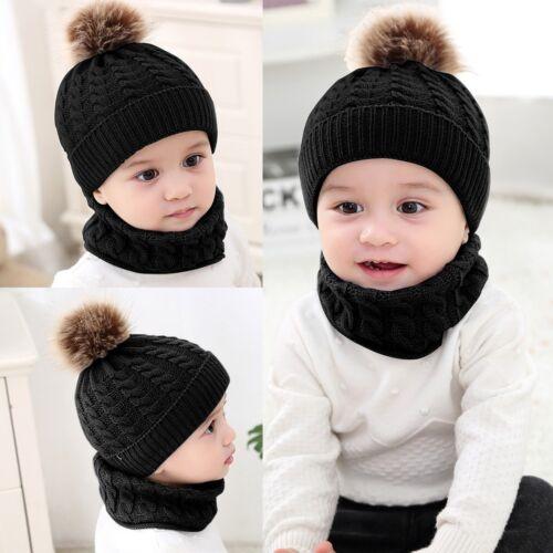 2Pcs Baby Boy Knit For Girl Winter Hat Toddler Kid Warm Beanie Crochet Cap+Scarf