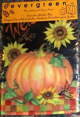 Garden Flag Welcome Harvest Fall Pumpkin Sunflower Check Small House Outdoor NEW