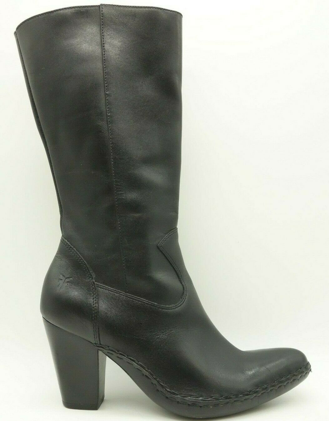 Frye Black Leather Dress Causal Fringe Side Zip Tall Chunk Heel Boot Womens 7 M