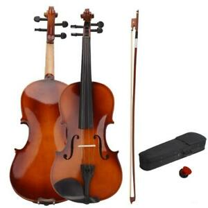 New 4/4 Full Size Natural Color Acoustic Violin Fiddle with Case Bow Rosin