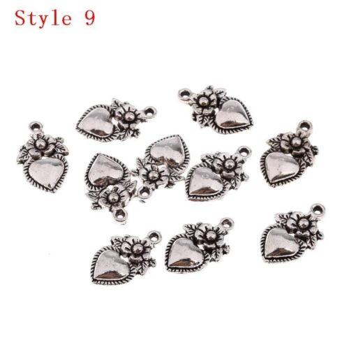 16 Styles Tibetan Silver Heart Series Beads Charms Pendant Fit DIY Jewelry 10pcs