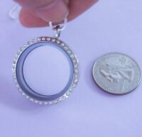 Stainless Steel Floating Locket, Pendant Only, Crystals, Twist Screw, Usa Seller