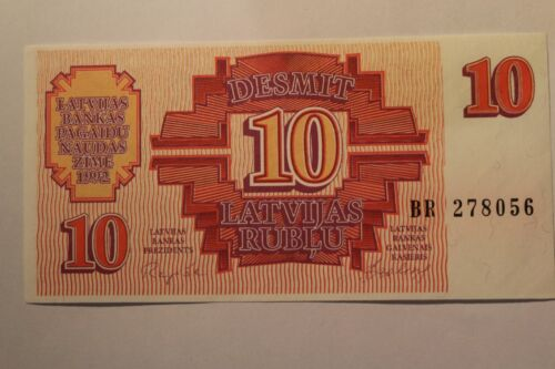 1992 Banknotes P-35 UNC ussr gorbachev  perestroika Latvia 10 Rubli