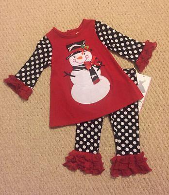 "NEW /""Fushia /& Lime Snowman/"" Tutu Pants Girls 24m Christmas Winter Baby Clothes"