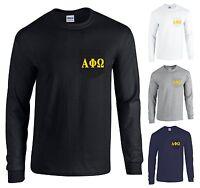 Alpha Phi Omega Fraternity Long Sleeve Pocket Shirt Gold Letters -