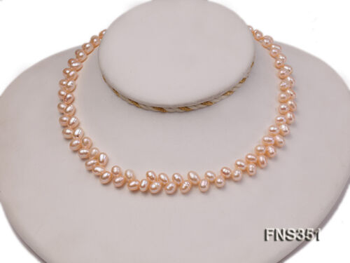 Beautiful 5.5-7mm Pink Wheat-ear-shaped Freshwater Pearl Single Strand Necklace