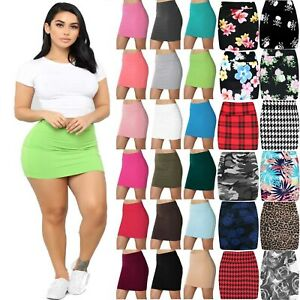 Womens-High-Waisted-Plain-Jersey-Summer-Bodycon-Tube-Stretch-Pencil-Mini-Skirt