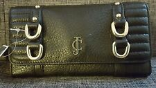 Juicy couture NWT black Leather continental clutch wallet