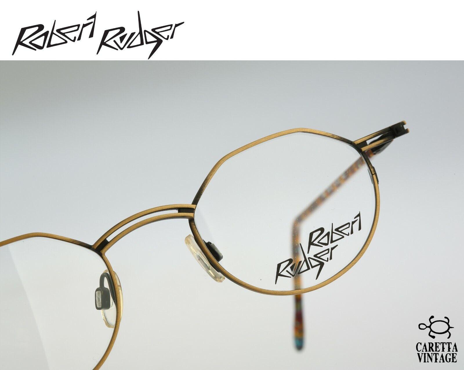 Robert Rudger 1430 139 36, Vintage 90s antique gold small round eyeglasses frame