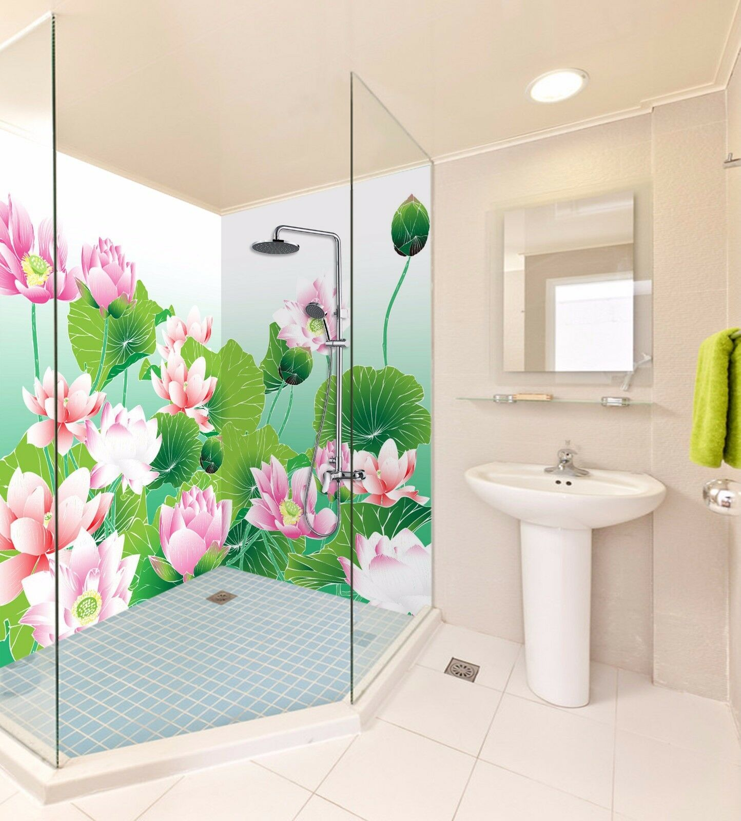 3D Pink Lotus 487 WallPaper Bathroom Print Decal Wall Deco AJ WALLPAPER AU