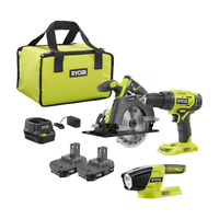 RYOBI 18-Volt Cordless ONE+ Drill/Driver, Circular Saw Kit with (2) 1.5 Ah Batteries, Charger, and Bag and LED Light