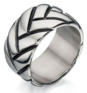 Fred Bennett Oxidised Polished Stainless Steel Men's Industrial 'Tyre' Band Ring