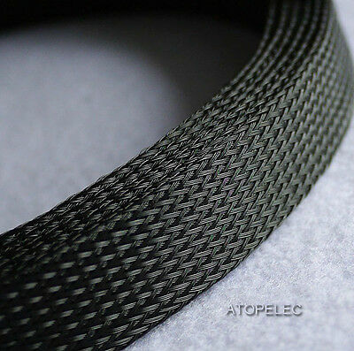 "20MM 25/32"" Braided PET Expandable Sleeving 4M Black"