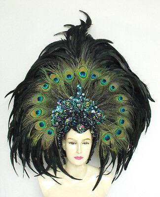 Da NeeNa Peacock Feather Cabaret Dancer Samba Headdress