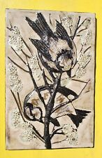 Ruscha Majolica Tile Birds Sparrows Mid Century Modern German  HUGE 9x13 In.
