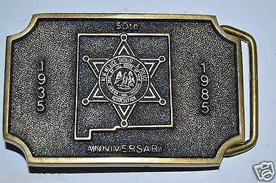 Vintage 1985 New Mexico SHERIFF & POLICE Association Brass Belt Buckle RARE