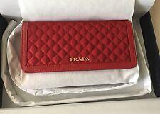 Authentic Prada 1M1437 Tessuto Saffiano Quiltin Red Crossbody Bag Clutch New