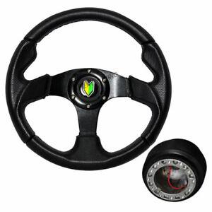 For 1996-2000 Honda Civic 320MM Blue//Black PVC Leather Type-B Steering Wheel+HUB