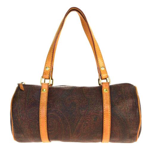 Auth Etro Paisley PVC,Leather Handbag Bordeaux 07G
