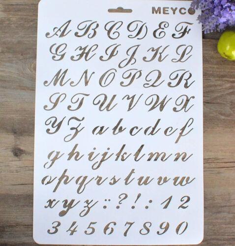 número signos de puntuación Pared stencil álbum de pintura de decoración de plantilla Hazlo tú mismo 26*2 carta