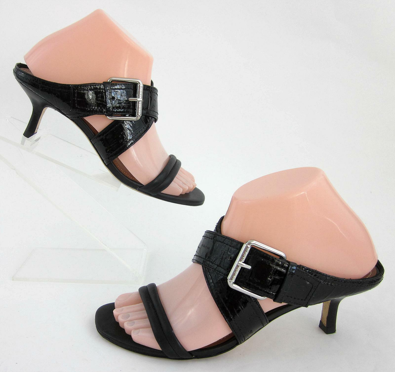 Donald J Pliner 'Mora' Criss Cross Open Toe Kitten Heel Sandals Black Leather 7M
