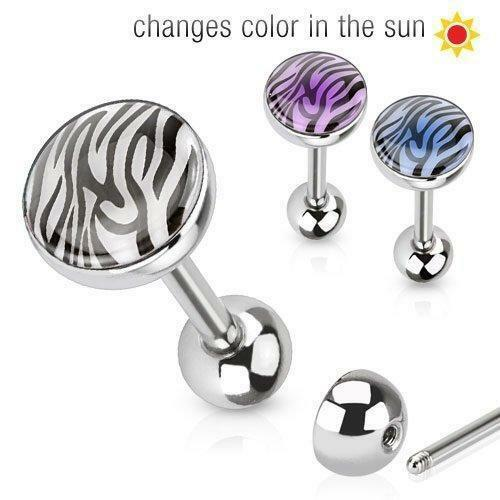 Tongue Ring 316L Surgical Steel Barbell Solar Activated Tiger Print Dome Top