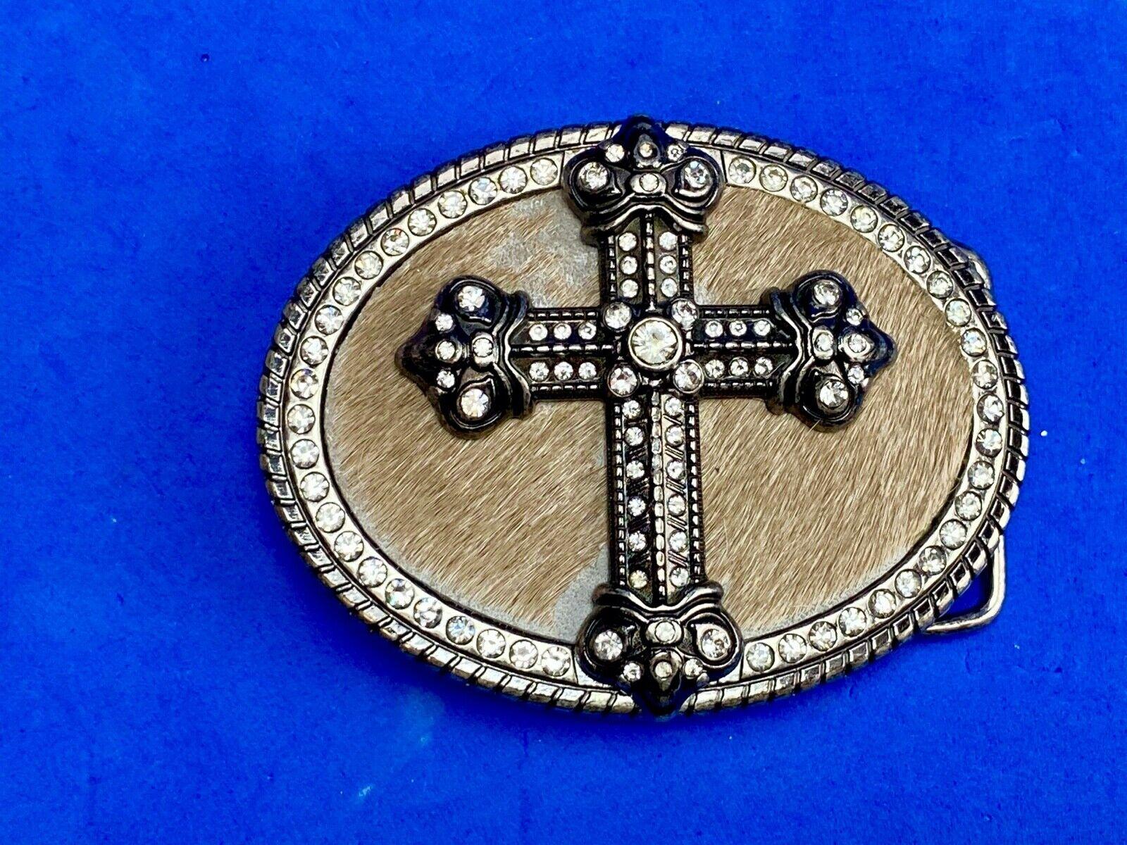 Western oval CROSS belt buckle with faux Hyde animal fur & rhinestone background