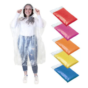 Image is loading Adult-Rain-Poncho-Waterproof-Plastic-Emergency-Rain-Hat- 0629907608c