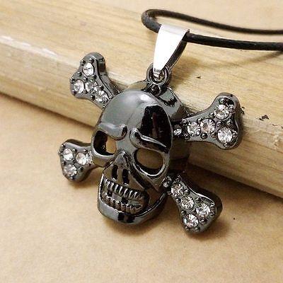 Collana Con Pendente TESCHIO Cranio ricoperto di STRASS color Canna di Fucile