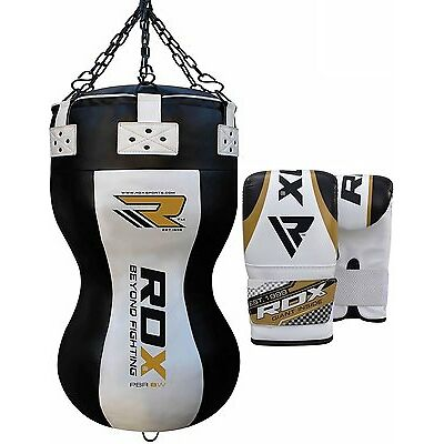 RDX Boxing Heavy Filled Punch Bag Angle Body Upper Cut MMA+ Gloves Muay Thai UFC