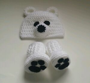 6854c061e46 NEW Newborn Baby Crochet Polar Bear Hat and Booties infant Photo ...