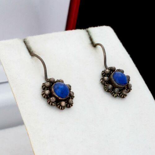 0.8 W 1.07 L Rare Gift Vintage 6.0 Grams Antique Art Deco Retro Sterling 925 Silver Lapis Lazuli Cluster Earrings Handmade