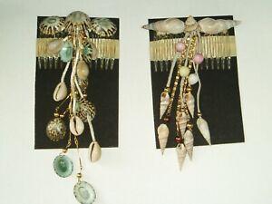 Cheveux Vintage Diapositives/peignes X 2 Avec Véritables Coquillages & Chaîne Rose & Bleu Nouveau-autres-afficher Le Titre D'origine
