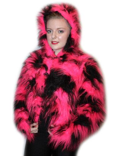 Neon Fluorescent Pink /& Black Camo Fluffy Furry Hooded Short Coat Jacket