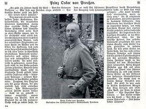 Historische Aufnahme/text Von 1915 Erfrischung Prinz Oskar Von Preußen Im 1.weltkrieg