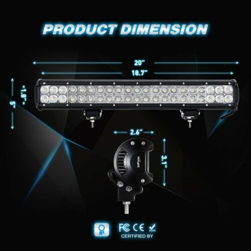 """2x Nilight LED Light Bar 20/"""" 126w Off-Road Combo Light for Atv Boat Jeep Tractor"""
