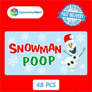 48x Christmas Snowman Poop Sticker Business Xmas Label Fun Seal Gift